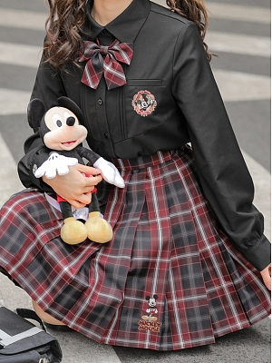 Disney Authorized Mickey Mouse Plaid JK Skirt by Mori Tribe