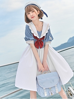 Disney Authorized Donald Duck Short Sleeves Empire Waist Dress by Mori Tribe