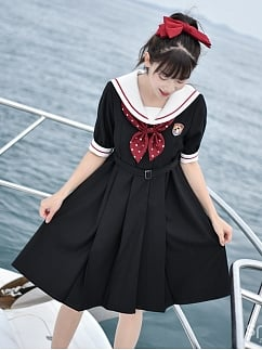 Disney Authorized Mickey Mouse Sailor Collar Black Dress by Mori Tribe