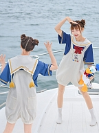 Disney Authorized Donald Duck Sailor Collar Top / Overall Shorts by Mori Tribe