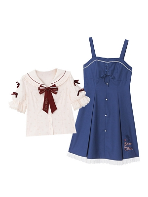Disney Authorized Snow White Sailor Collar Top / Overall Dress Set by Mori Tribe