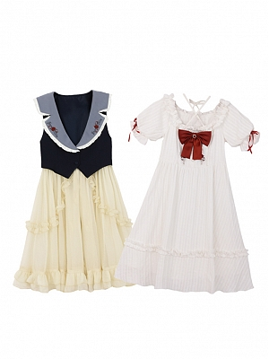 Disney Authorized Snow White Puff Sleeves Three-pieces Dress Set by Mori Tribe