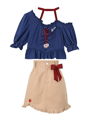 Disney Authorized Snow White Dark Blue T-shirt / Brown Skirt Two-pieces Set by Mori Tribe