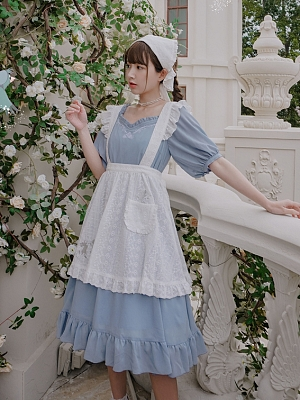 Disney Authorized Cinderella Short Sleeves Dress / White Apron / Tulle Overdress Three-pieces Set by Mori Tribe