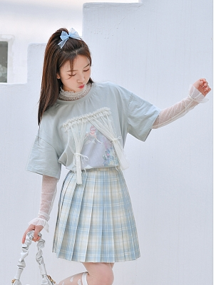 Disney Authorized Cinderella High Neck Long Sleeves Lace T-shirt by Mori Tribe
