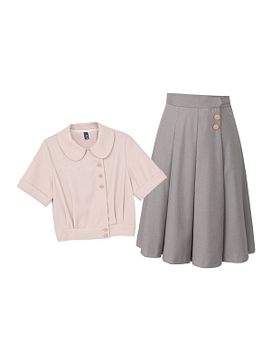 Peter Pan Collar Top / Gray Pleated Skirt Two-pieces Set by Mori Tribe
