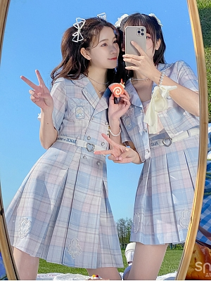 Disney Authorized Alice in Wonderland Lapel Collar Plaid Dress by Mori Tribe
