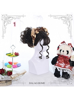 Brown-black/Orange/Pink Mid-length Small Curly Synthetic Lolita Wig by Dalao Home