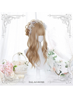 Caramel Gold Long Wavy Curly Synthetic Lolita Wig by Dalao Home