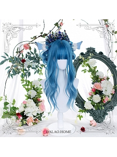 Blue Gradient Long Curly Synthetic Lolita Wig by Dalao Home
