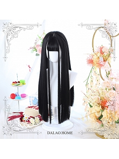 Black/Maple Syrup Double Ponytail Long Straight Synthetic Lolita Wig by Dalao Home