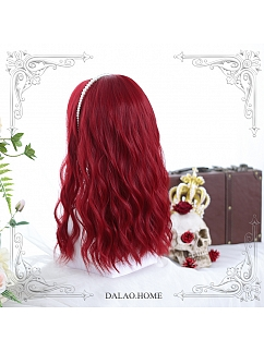 Red Mid-length Water Ripple Synthetic Lolita Wig by Dalao Home