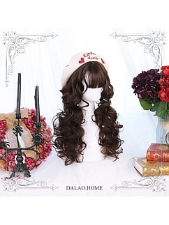 Caramel Mid-length Wool Curly Synthetic Lolita Wig by Dalao Home