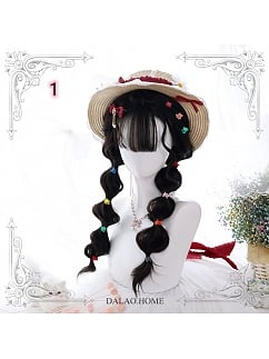 Brown-black Water Ripple Long Curly/ Double Ponytail Synthetic Lolita Wig by Dalao Home
