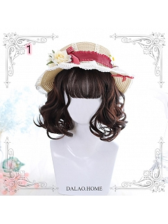 Chocolate Air Bangs Short Curly Synthetic Lolita Wig by Dalao Home