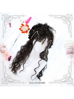 Dark Brown/ Chocolate/ Black Long Wool Curly Synthetic Lolita Wig by Dalao Home