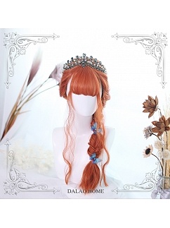 Orange Air Bangs Egg Roll Long Curly Synthetic Lolita Wig by Dalao Home