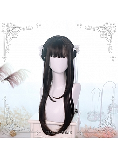 Chocolate/Brown-black  Long Straight Synthetic Lolita Wig by Dalao Home