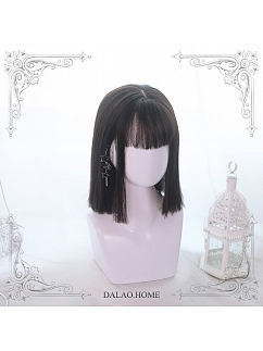 Brown-black/Chocolate/Black Mid-length Straight Synthetic Lolita Wig by Dalao Home