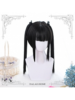 Black Long Double Ponytail Synthetic Lolita Wig by Dalao Home