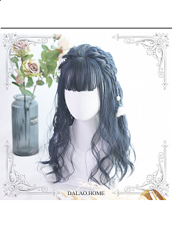 Black Blue Air Bangs Short Curly Synthetic Lolita Wig by Dalao Home