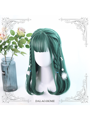 Dark Green Mid-length Inner Button Synthetic Lolita Wig by Dalao Home