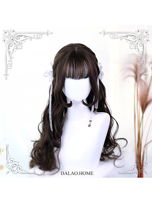 Phyllis Dark Brown Long Curly Synthetic Lolita Wig by Dalao Home