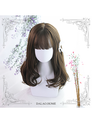 Dabria Chestnut Brown Mid-length Micro Curly Synthetic Lolita Wig by Dalao Home
