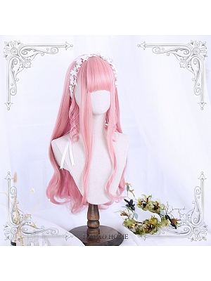 Pink Long Roman Curly Synthetic Lolita Wig by Dalao Home