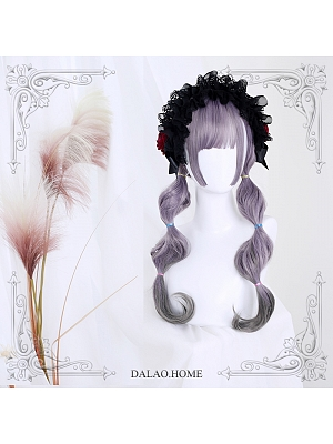 Doreen Gray-purple Long Curly Synthetic Lolita Wig by Dalao Home