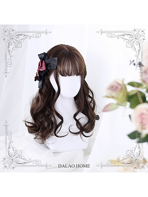 Dark Brown Mid-length Big Curly Synthetic Lolita Wig by Dalao Home