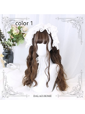 Dark Brown Long Wool Curly Synthetic Lolita Wig by Dalao Home