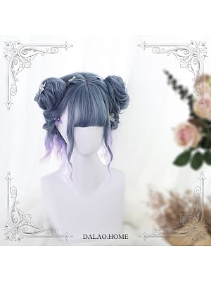 Blue Purple Gradient Water Ripple Short Curly Synthetic Lolita Wig and Two Buns by Dalao Home
