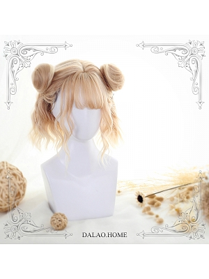 Jycelin Water Ripple Short Curly  Synthetic Lolita Wig and Two Buns by Dalao Home