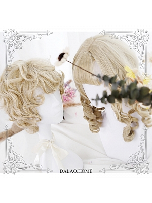 Roman Roll Couple Short Curly Synthetic Lolita Wig by Dalao Home