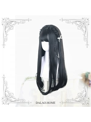 Brown-black/Chestnut Brown/Black Long Straight Synthetic Lolita Wig by Dalao Home