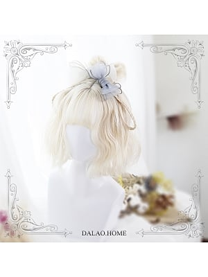 Iris Creamy White Air Bangs Short Curly Synthetic Lolita Wig by Dalao Home