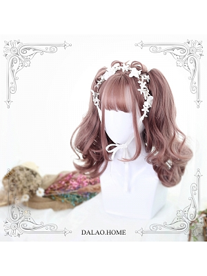 Grey Pink Double Ponytail Short Curly Synthetic Lolita Wig by Dalao Home