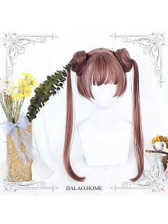 Brown Yellow Long Double Pontail Synthetic Lolita Wig by Dalao Home
