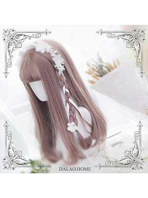 Letitia Grey Pink Air Bangs Long Straight Inner Button Synthetic Lolita Wig by Dalao Home
