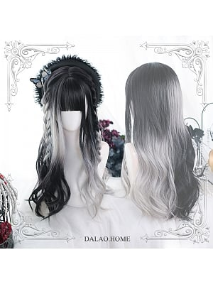 Gradient Big Wave Long Curly Synthetic Lolita Wig by Dalao Home
