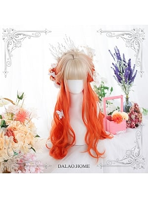 Mountain Peach Gradient Long Curly Synthetic Lolita Wig by Dalao Home
