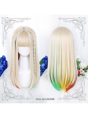Long Straight Inner Button Synthetic Lolita Wig with Bangs by Dalao Home