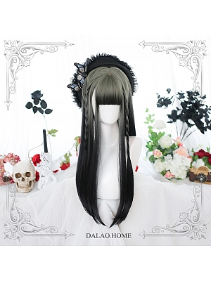 Gradient Long Straight Inner Button Synthetic Lolita Wig with Bangs by Dalao Home