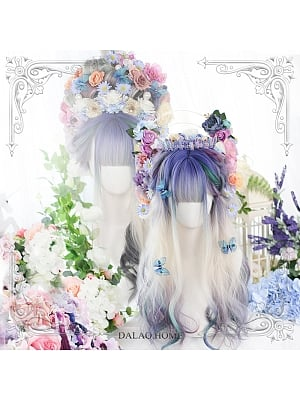 Butterfly Shadow Graident Long Curly Synthetic Lolita Wig with Bangs by Dalao Home
