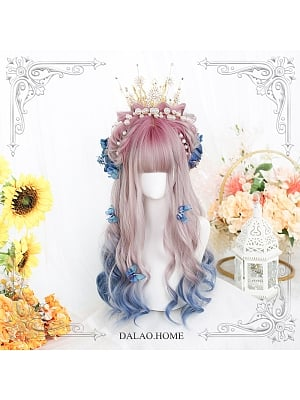 Shadow Candle Graident Long Curly Synthetic Lolita Wig with Bangs by Dalao Home
