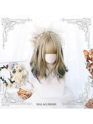 Gradient Short Micro Curly Synthetic Lolita Wig with Bangs by Dalao Home