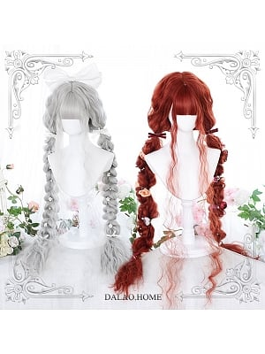 120cm Long Wool Curly Synthetic Lolita Wig with Air Bangs by Dalao Home
