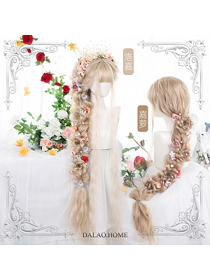Loga Caro 120cm Long Wool Curly Synthetic Lolita Wig with Air Bangs by Dalao Home