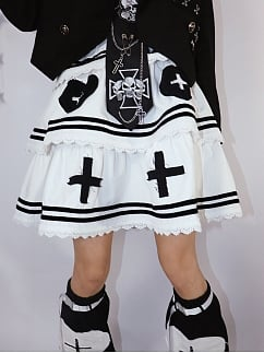 Cross Harajuku Style Tiered Flounce Skirt by Wine Meat Market